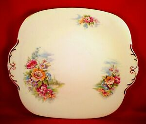 WINDSOR Cake Plate FLORAL China VINTAGE Scenic GORGEOUS