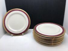 """Belleek Coxon Magenta/Maroon & Gold Band Dinner Plate 10.5"""" Each BEAUTIES!!"""