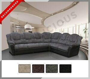 Brand New - TEXAS - LARGE Corner Sofa - Chenille & Faux Leather - 4 Colours