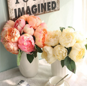 Silk Fake Artificial Peony Flower Bouquet 5/6Heads Wedding Party Home Decoration