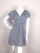 Speechless Women's Size Small Empire Waist Dress Gray Short Sleeve V Neck