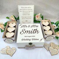 Wooden Rustic Wedding Wish Box Guest Book Alternative Drop in Box Wood White