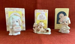 3 Precious Moments Puppy Dog Theme Christmas Ornaments 1989-1998 Mint w Boxes