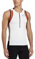 PEARL Izumi MENS Elite INRCOOL Triathlon SINGLET Size SMALL White/Cherry Tomato
