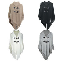 Women Warm Cloak Hood Sweater Knit Batwing Top Poncho Cape Coat Tassel Outwear