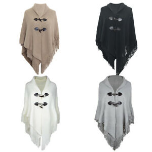 Women Poncho Knitted Jumper Sweater Jacket Coat Cape Shawl Cloak Winter Thick Q*