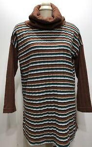 Krazy Collection Fr Italy Striped Turtleneck LongSleeve Women DressShirt Sz L