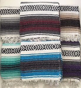 Mexican Falsa Blanket Throw Rug 120x185cm HAND LOOMED Recycled Yoga Camping DL
