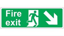 300mmx100mm FIRE EXIT - RIGHT & DOWN Health and Safety Directional Sticker/Sign