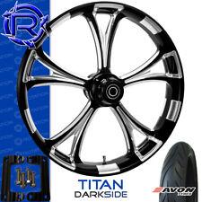 "Rotation Titan DarkSide Motorcycle Wheel Kawasaki Vaquero Vulcan Package 21"""