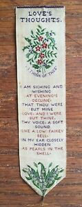 ANTIQUE SILK BOOKMARK - T Stevens, Coventry - LOVE'S THOUGHTS - Flowers & Verse