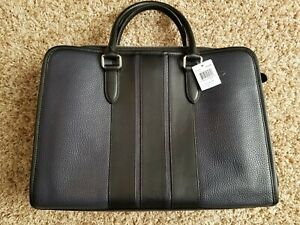 COACH Navy & Black Pebbled Leather F72308  2-WAY Briefcase Messenger Bag.