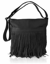 Afonie Genuine Western  Messenger Fringe Mexican  Leather Handbag Black NWT