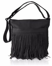 Afonie Genuine Western  Messenger Fringe Mexican  Leather Handbag Black NWT