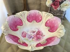 """Vintage RS PRUSSIA 10-1/2"""" Fuschia Porcelain Bowl With Hand Painted Flowers"""