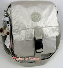 NWT KIPLING LANCELOT Shoulder Cross Body Travel Bag w Furry Monkey Silver Beige