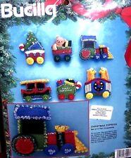 "Bucilla ""CHRISTMAS EXPRESS TRAIN"" Vintage Felt Ornaments Kit RARE 84438 Bears"