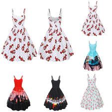 Sexy Sleeveless Condole Belt Strap Belt Print Vintage Tutu Party Skirt Dress
