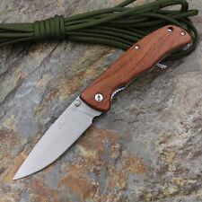 Enlan L05-1 Pocket Clip Folding Knife 8Cr13mov Stainless Steel Wooden Handle