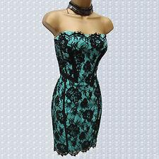 Karen Millen Black Teal Vintage French Lace Corset Wiggle Pencil Dress 12 UK