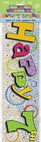 Happy 7th Birthday 12ft Holographic Foil Banner - Party Decoration Bunting Wall