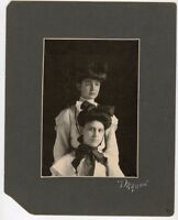 "Antique Matted Photo - 2 Cute Girls 1) HATFIELD Family - Dragoo Studio 8"" x 10"""