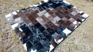COWHIDE PATCHWORK CARPET AREA Leather RUG Cow hide 6ft x 4ft Perfect !!