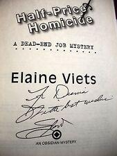 Elaine Viets Half-Price Homicide signed 2010 hardcover DJ 1st ediiton