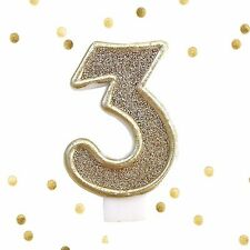 Light Gold Glitter 3rd Birthday Candle Number 3 Gold & White Cake Topper Three