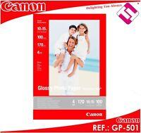 100 HOJAS PAPEL FOTOGRAFICO CANON 10 X 15 GLOSSY 170 GRAMOS INKJET BRILLO GP-501