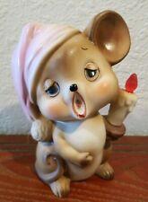 """Vtg Josef Originals Porcelain Night Light Lamp Sleepy Mouse Candle Japan 6"""" kid"""