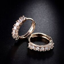 18K Yellow Gold Filled White Swarovski Crystal Fashion Party Hoop Stud Earrings