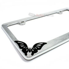 Chrome Metal Butterfly Custom License Plate Tag Frame for Auto-Car-Truck-SUV
