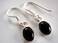 Black Onyx Petite Ellipse 925 Sterling Silver Earrings