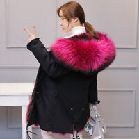 Women 100% Real Fur Collar Hooded Parka Fox Lined Outwear Jacket Coat Warm