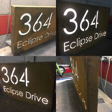 Corten Steel LED House Sign Lightbox Rustic Custom Made Laser Cut Rusted Steel