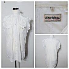Redneck Trucker Grunge Shirt Men's Lg Northern Plains White Pearl Snap inv#S8093
