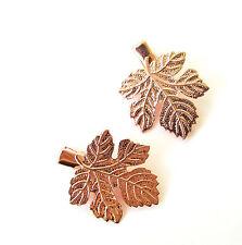 2 x Rose Gold Maple Leaf Hair Clips Grips Baroque Bridal Grecian Boho Vtg 1187