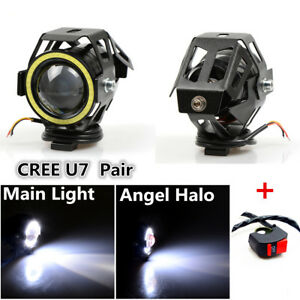 2x U7 LED Headlight Motorcycle Riding Spot Lamp Strobe Angel Halo + Switch Kit