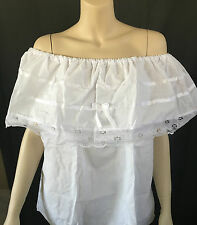 WOMAN HANDMADE WHITE GYPSY PEASANT BLOUSE LACE MEXICAN SLEEVELESS 1 SIZE FITS