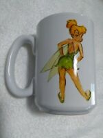 Sassy Disney Store Tinkerbell Large Coffee Mug Green White Printed Both Sides