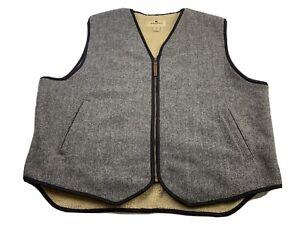 Woolrich Sherpa Fleece Lined Gray Wool Vest Full Zip Men's Size 2XL Work Hunting