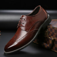 Men's Dress Formal Oxfords Shoes Leather Suit Lace up Brogue Wing Tip Wedding US