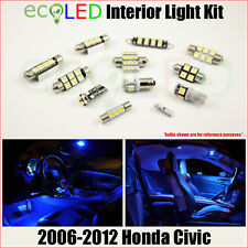 Fits 2006-2012 Honda Civic BLUE LED Interior Light Accessories Package Kit 6 PCS