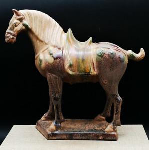 "8.3"" Collect Chinese Ceramics Tang Sancai Pottery Zodiac Animal War-horse Statue"