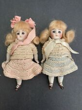 """2 Antique All Bisque Mignonette 620- Glass Eyes Swivel Neck -Dollhouse Doll 4.5"""""""