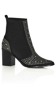 City Chic - Black Rock Stud Boots - Size 39 - 9/10