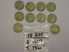 (10 COINS) (5) 1920's (5) 1930's BUFFALO NICKEL LOT -GREAT GIFT-