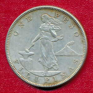 PHILIPPINES 1904 ONE PESO SILVER COIN **NICELY CIRCULATED BETTER DATE**
