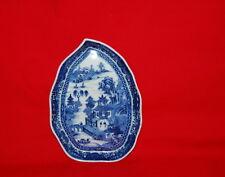 Antique Chinese Export Porcelain Nanking Leaf Shape Landscape Dish 18th Century